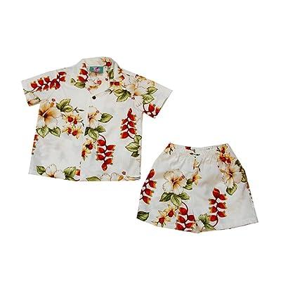 Jade Fashions Inc. Aloha White Heliconia Hawaiian Boy Set-White-8