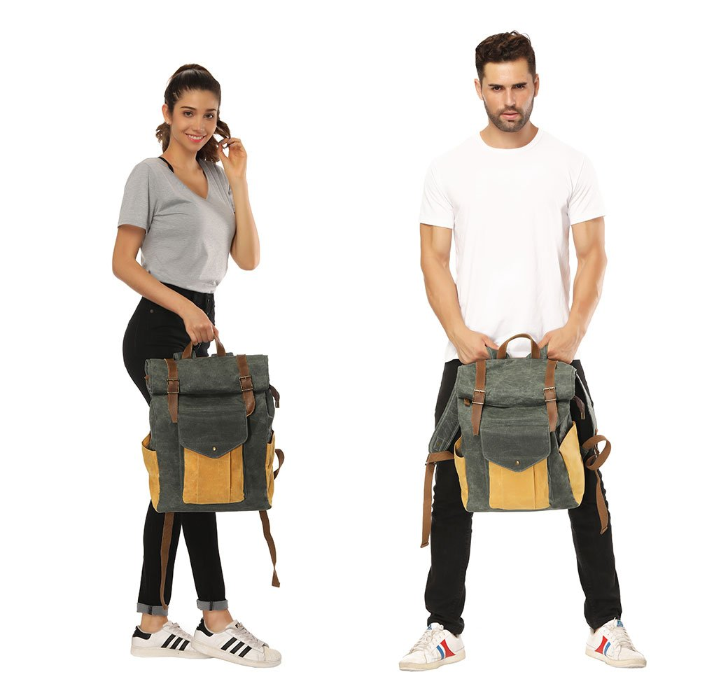 Partrisee Vintage Waxed Canvas Leather Backpack Large 17'' laptop Purse Rucksack School Gift Bag for men women-Lake Green by Partrisee (Image #6)