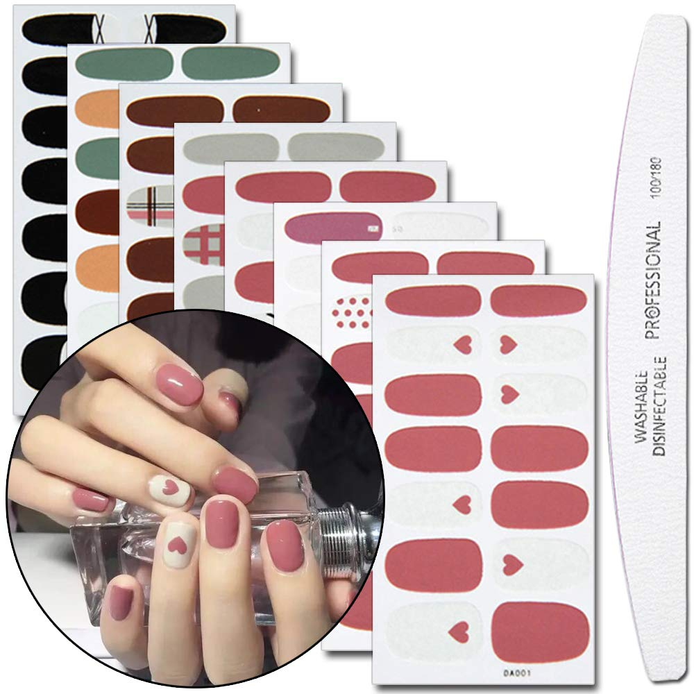 WOKOTO 8 Pieces Stars Nail Art Polish Wraps Stickers With 1Pcs Nail File Lattice Adhesive Nail Decal Strips Manicure Collection Kit Hengxing