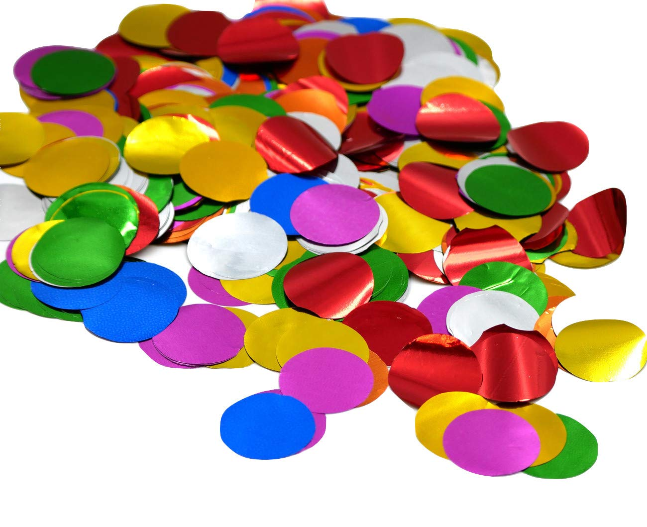 1'' Multicolor Metallic Circles for Arts and Crafts Confetti Poppers 1 Pound Bag