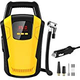 Voroly Portable Car Air Compressor Tyre Inflator 12V DC Car Pump with Auto Cut Off Digital Pressure Gauge Bright Emergency Flashlight for Auto Truck Bicycle Ball (Yellow)