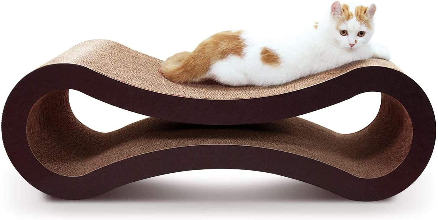 ScratchMe Cat Scratching Post Lounge Bed, Cat Scratcher Cardboard Board Pads Catnip and Groomer Brush