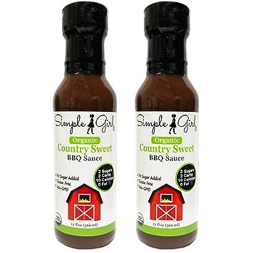 Simple Girl Organic Country Sweet BBQ Sauce - 12oz - 2 Bottles - Gluten Free,