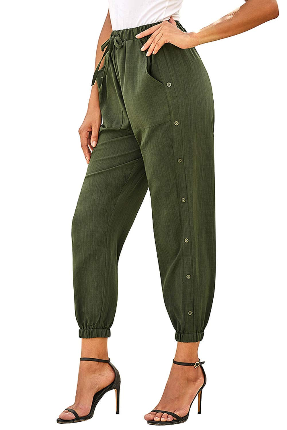 NEWFANGLE Women's Linen Casual Pants Drawstring Elastic Waist with Pockets Solid Comfy Loose Fit Trousers,Green,L