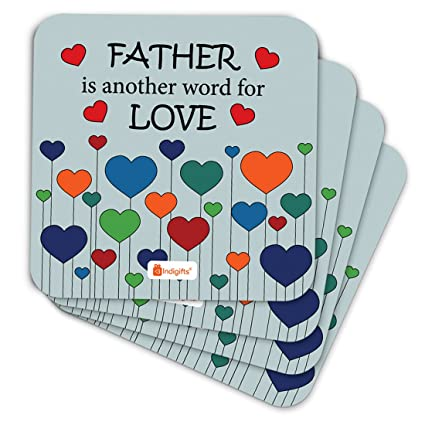 indigifts papa gifts birthday father is another name of love quote heart balloon pattern blue coaster