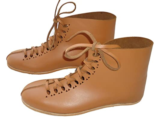 Women's Medieval Tan Leather Ghillie Lace Up Boots - DeluxeAdultCostumes.com