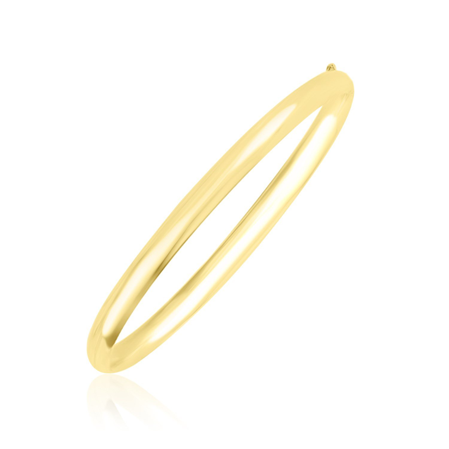 10K Yellow Gold Dome Style Shiny Bangle by Jewels By Lux
