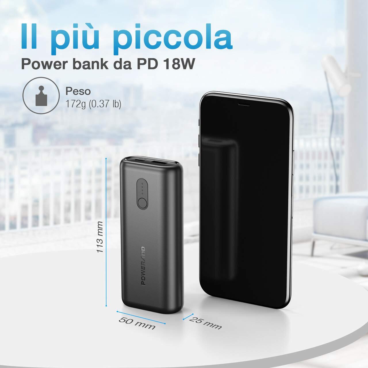 POWERADD EnergyCell Power Bank 10000mAh da PD18W, Caricabatterie Portatile con Porta Type-C + USB Uscita, Ricarica Veloce per iPhone, Samsung, Huawei, Xiaomi