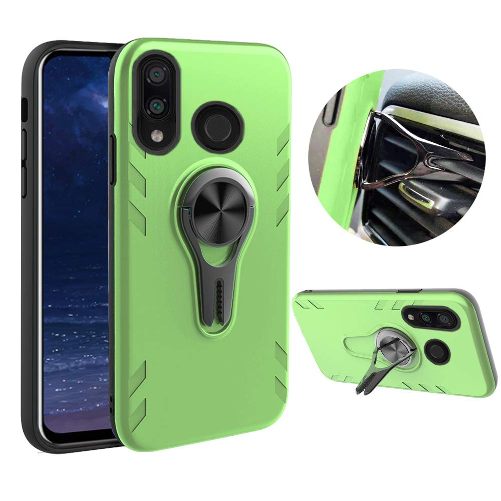 Rotating Ring Stand Holder Car Air Vent Kicstand Hybrid Heavy Duty Hard Back Case Compatible with -Pink for Huawei Y9 2019 Case Magnetic Car Mount Not Fit Y9 Prime 2019