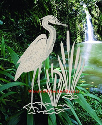 Egret & Cattails Left Oval Etched Window Decal Vinyl Glass Cling - 8