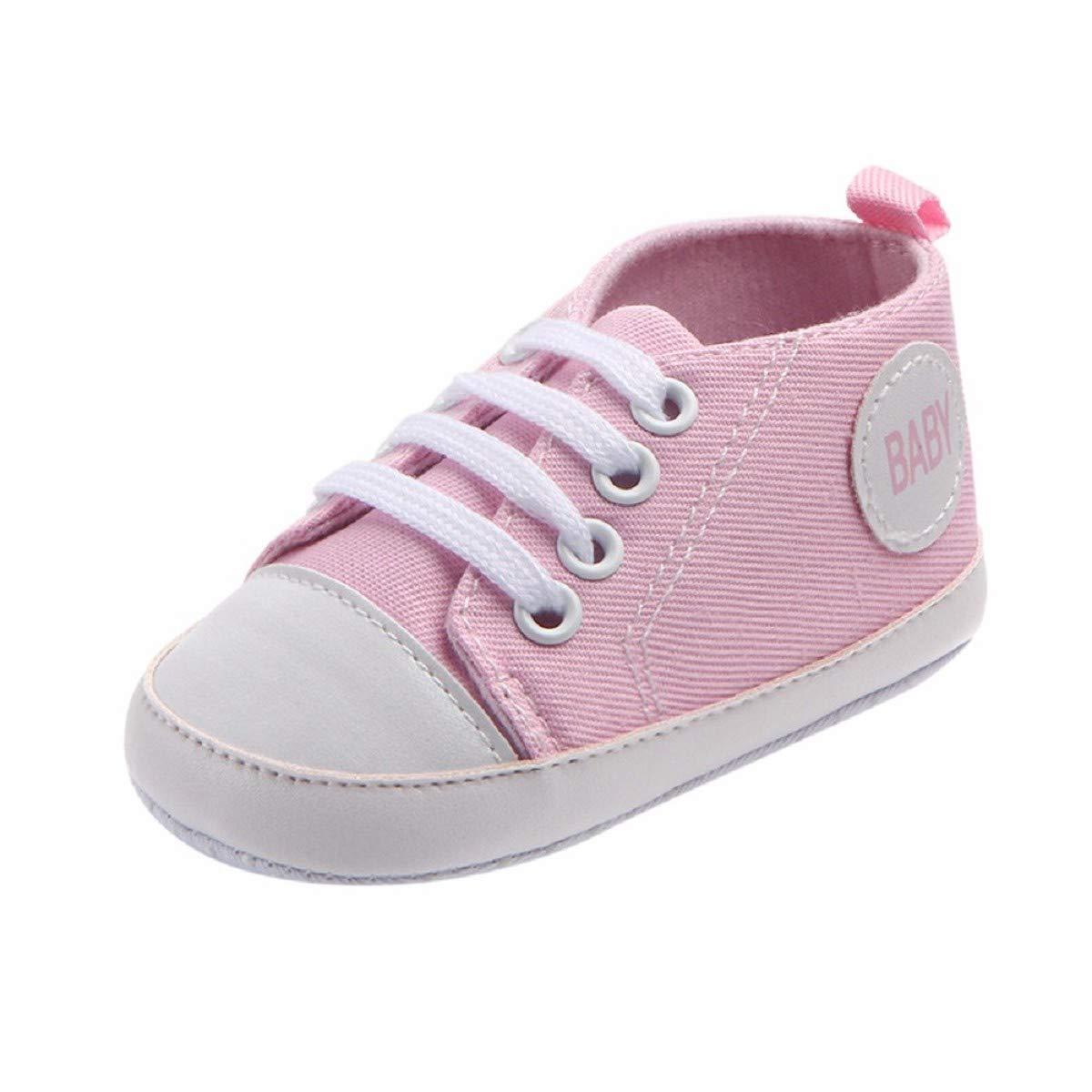 Newborn Canvas Shoes FAPIZI Infant Baby Boys Girls Solid Bandage Anti-Slip Soft Shoes Sneaker Pink