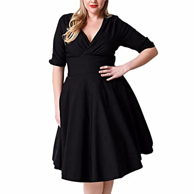 Samtree Womens Vintage 1950s Style V Neck Plus Size Cocktail Party Swing Dress(UK 18