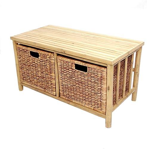 Heather Ann Creations Isla Collection Bohemian Bamboo Open Frame Bench