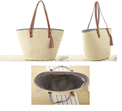 33c1adaa51 Summer Style Beach Bag Women Straw Tassel Shoulder Bag Brand ...