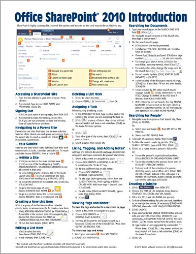 Microsoft SharePoint 2010 Quick Reference Guide: Introduction (Cheat Sheet of Instructions, Tips & Shortcuts - Lamin