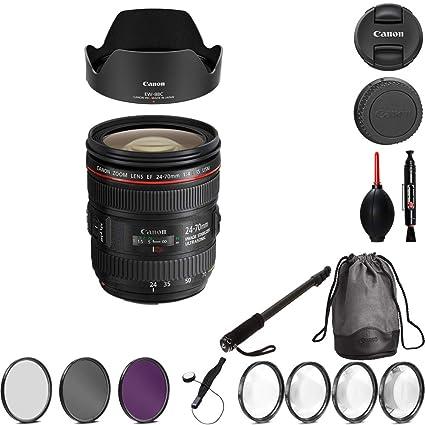 Amazon com : Canon EF 24-70mm f/4L is USM Lens Bundle with