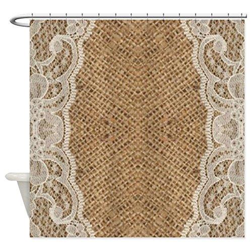 (CafePress Shabby Chic Burlap Lace Decorative Fabric Shower Curtain (69