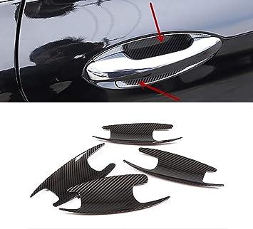4 piezas de fibra de carbono estilo ABS cubierta de tazón de puerta embellecedor accesorios de coche para W213 Clase E 16-19 W205 Clase C GLC X253: ...