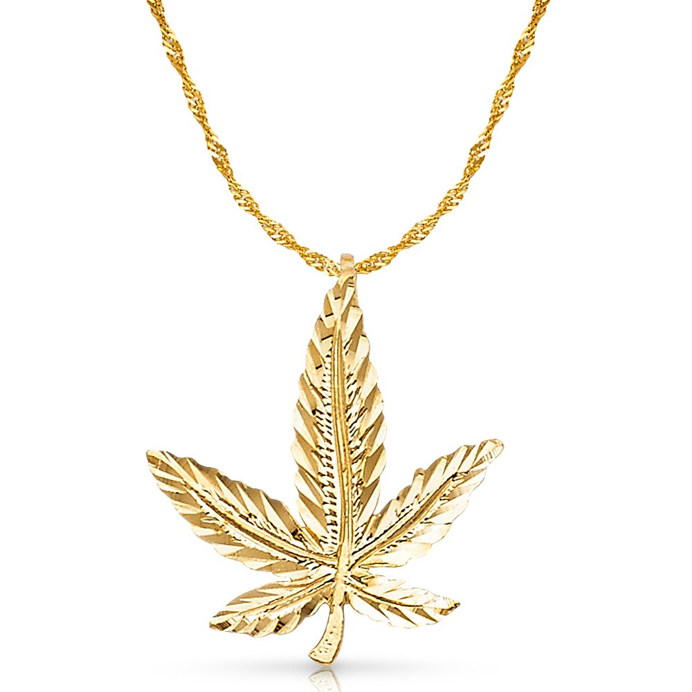 14K Yellow Gold Marijuana Leaf Charm Pendant with 1.2mm Singapore Chain Necklace