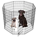 SmithBuilt Crates Dog Playpen Folding Yard with Door and Carry Bag 8 Panel Metal Wire Popup Portable Fence, 48 Inch High – Black For Sale