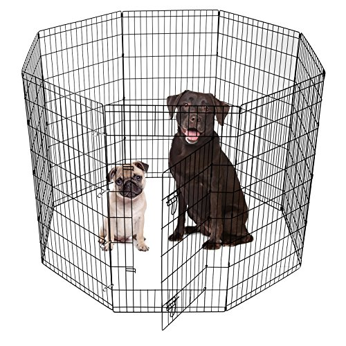 SmithBuilt Crates Dog Playpen Folding Yard with Door and Carry Bag 8 Panel Metal Wire Popup Portable Fence, 48 Inch High - (Mix Yard Design)