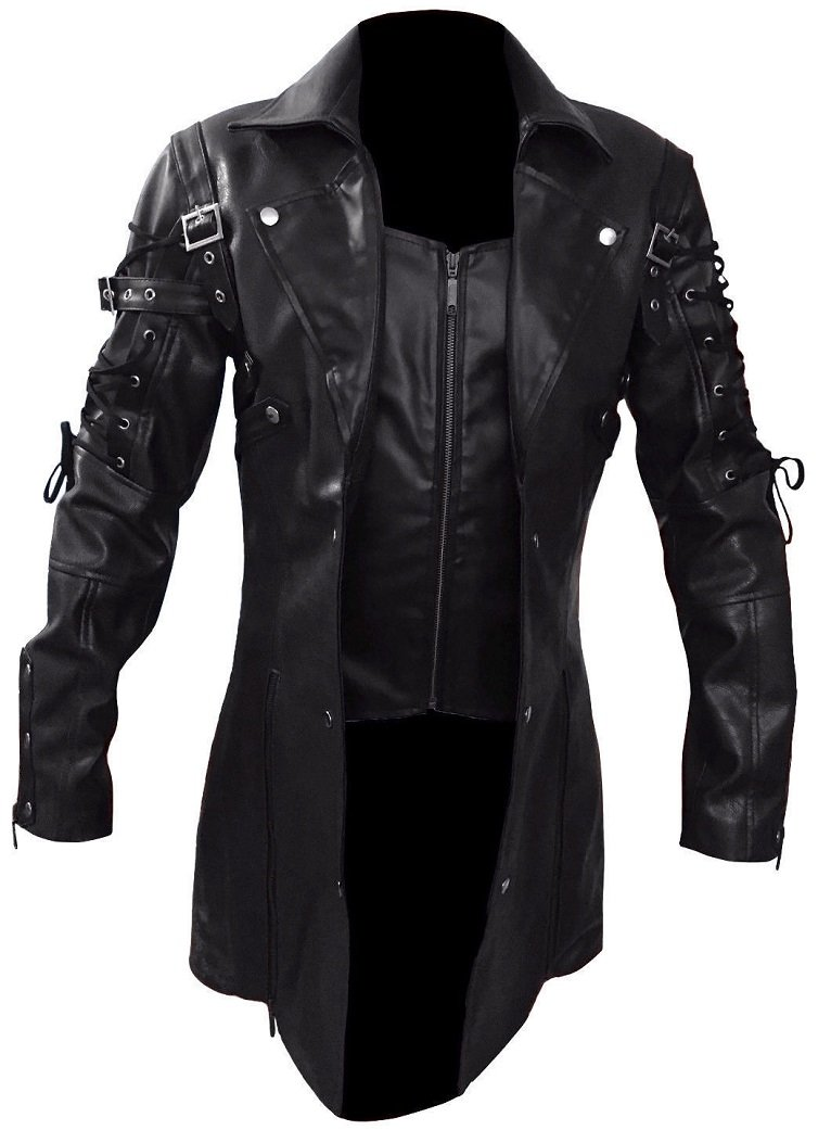 Gothic_Master Men's PU Leather 3 Buttons Coat 3