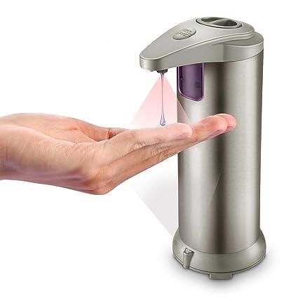 Dispensador jabón automatico manos sensor toque blanco liquido