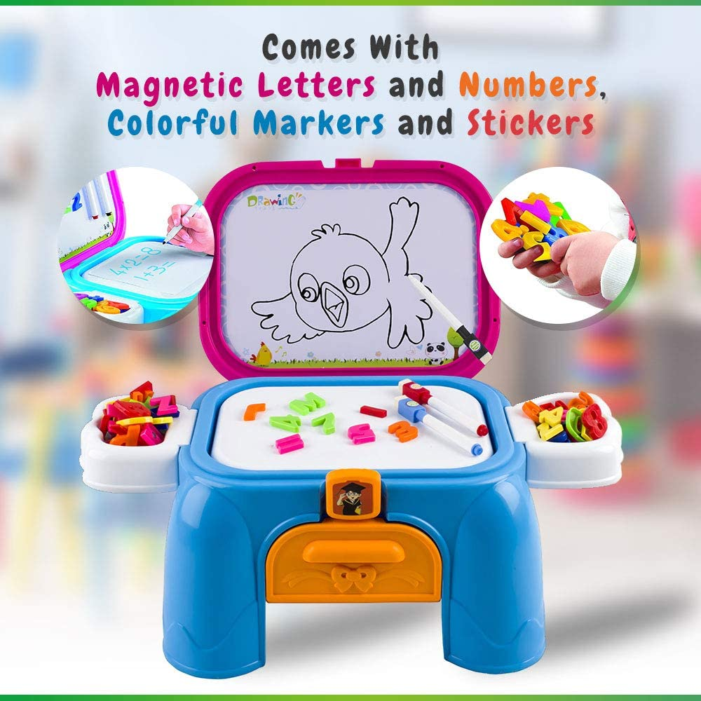Compact for Storage Folds into Step-Stool WolVol Drawing Board with Magnetic Letters and Numbers /& Colorful Markers for Kids