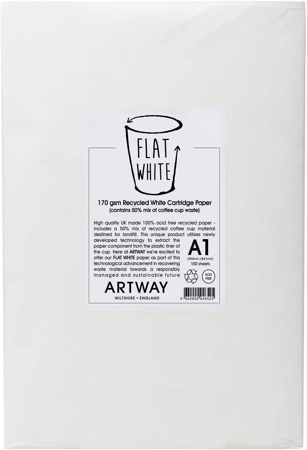 Artway A1-100 feuilles Papier cartouche Flat White 100/% recycl/é//dont 50/% en gobelets en carton 170 g//m/²