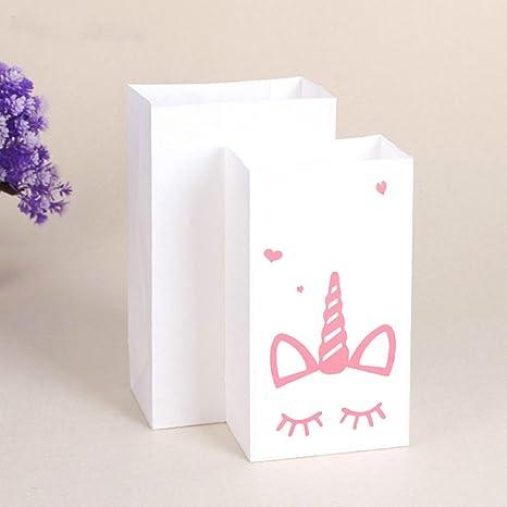2991473c0 Bolsa de regalo de papel para fiesta de unicornios, 10 unidades de bolsas  para dulces