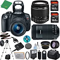 Canon T5i Camera with 18-55mm IS STM + 55-250mm STM Lens + 2pcs 16GB Memory + Case + Memory Reader + Tripod + ZeeTech Starter Set + Wide Angle + Telephoto + Flash + Filter