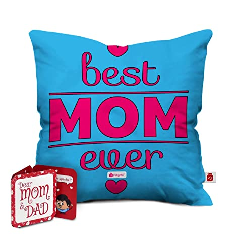 Indi ts Best Mom Ever Quote Cushion Cover 18×18 inch Blue House Warming Gift for Mom Mother in Law Mother to be on her Birthday Anniversary