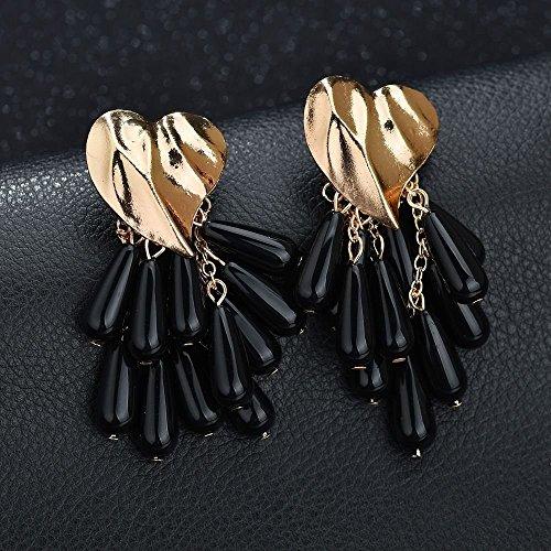 Eternity J. 2 Pairs Statement Earrings Heart Shaped Beads Tassel Dangle Drop Stud Earrings for Women Girls by Eternity J. (Image #2)