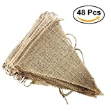 Arts & Crafts : Etmact 48 Pcs Burlap Banner, 31 ft DIY Triangle Flag, Hand Painted Decoration for Wedding, Birthday Party and Any Occasion