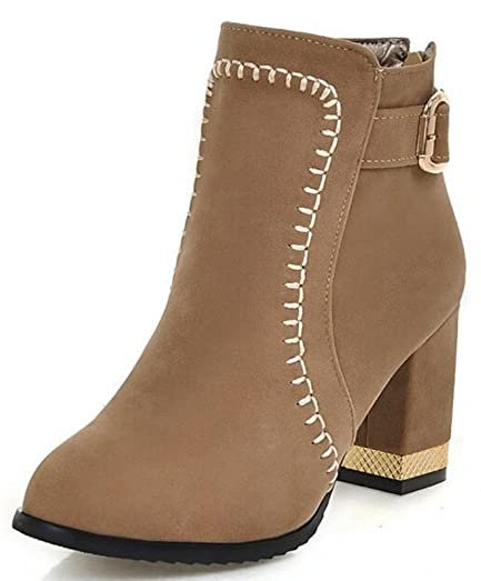 Women's Fashion Mid Chunky Heel Back Zipper Ankle Boots