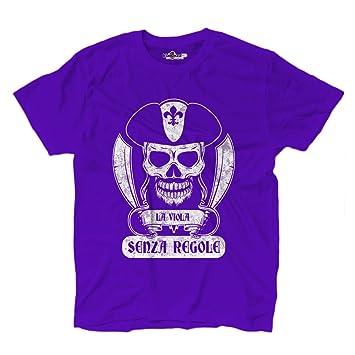 Camiseta camiseta hombre fútbol pirata Firenze Morado Tifosi ultras Fans Sport Senz, Deep Berry,