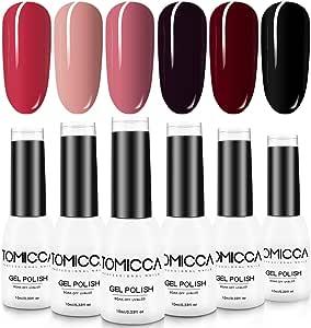 TOMICCA 6 Colors UV LED Gel Polish Kit, Nail Art Manicure Set
