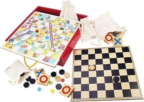 Bigjigs Juguetes cl?sicos Juegos de Mesa, Juegos Compendio - Incluye Tiddly Winks, Serpientes y escaleras y m?s: Amazon.es: Juguetes y juegos