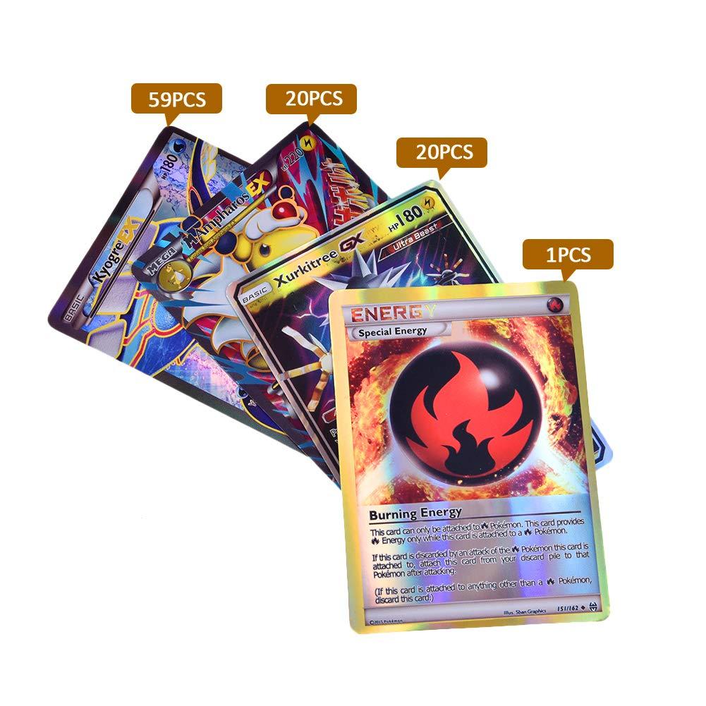 100Pcs Holo Poke Trading Cards, TCG Style Card EX Full Art, 100 Cards en Cada Lote Incluyendo 59 Tarjetas EX 20 Tarjetas Mega EX 20 Tarjetas GX 1 ...