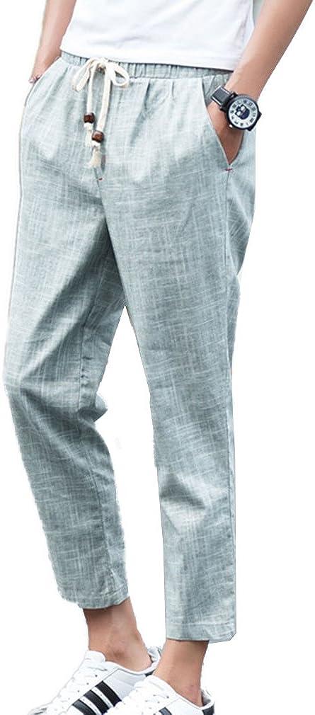 Verano Hombre Pantalones de Lino Sueltos Pantalón de Playa con Bolsillos Laterales Cordón Pantalones Hombres 3/4 Longitud Plus Size Pantalone Casuales Transpirable Cómodo 4 Colores