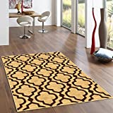 Kapaqua Rubber Backed 5′ x 6'7″ Area Rug GOLD Moroccan Trellis Non-Slip Kitchen Living Dining Room 5×7 Review