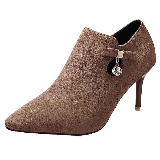 Moda Calzado tacón Alto Botas Botines Mujer Invierno Zapatos de Moda para Mujer Botas Desnudas Botas de Tobillo Botas Chelsea Ante Botas Casual Calzado ...