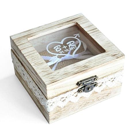 Amazon.com: Anillos de Boda Personalizada – Caja, clásico ...