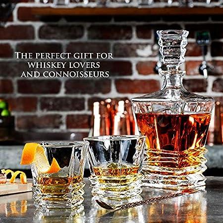 Art Deco decantador de Whisky con gafas de 5piezas. De cristal sin plomo de cristal para Whisky, Scotch o Bourbon por Maketh el hombre.