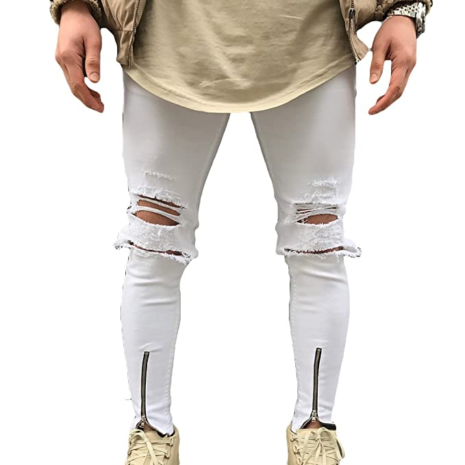 Hombre Jeans pantalones de mezclilla - Hibote elásticos cómodos Jeans Slim Fit Stretch Skinny Denim Jeans agujeros Jeans destruidos 5… eCrEHf1Y