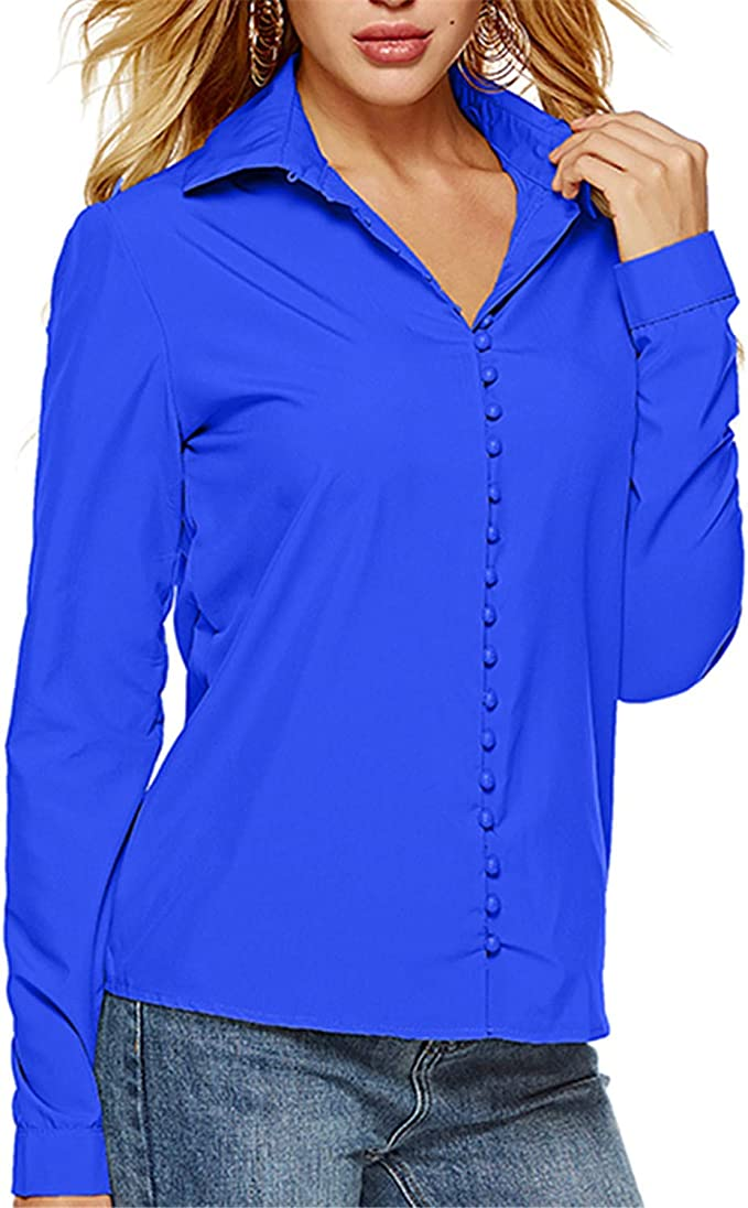Damen Schlank Hemd Blusen Mit Knopf V-Ausschnitt Langarm T-Shirt Tops
