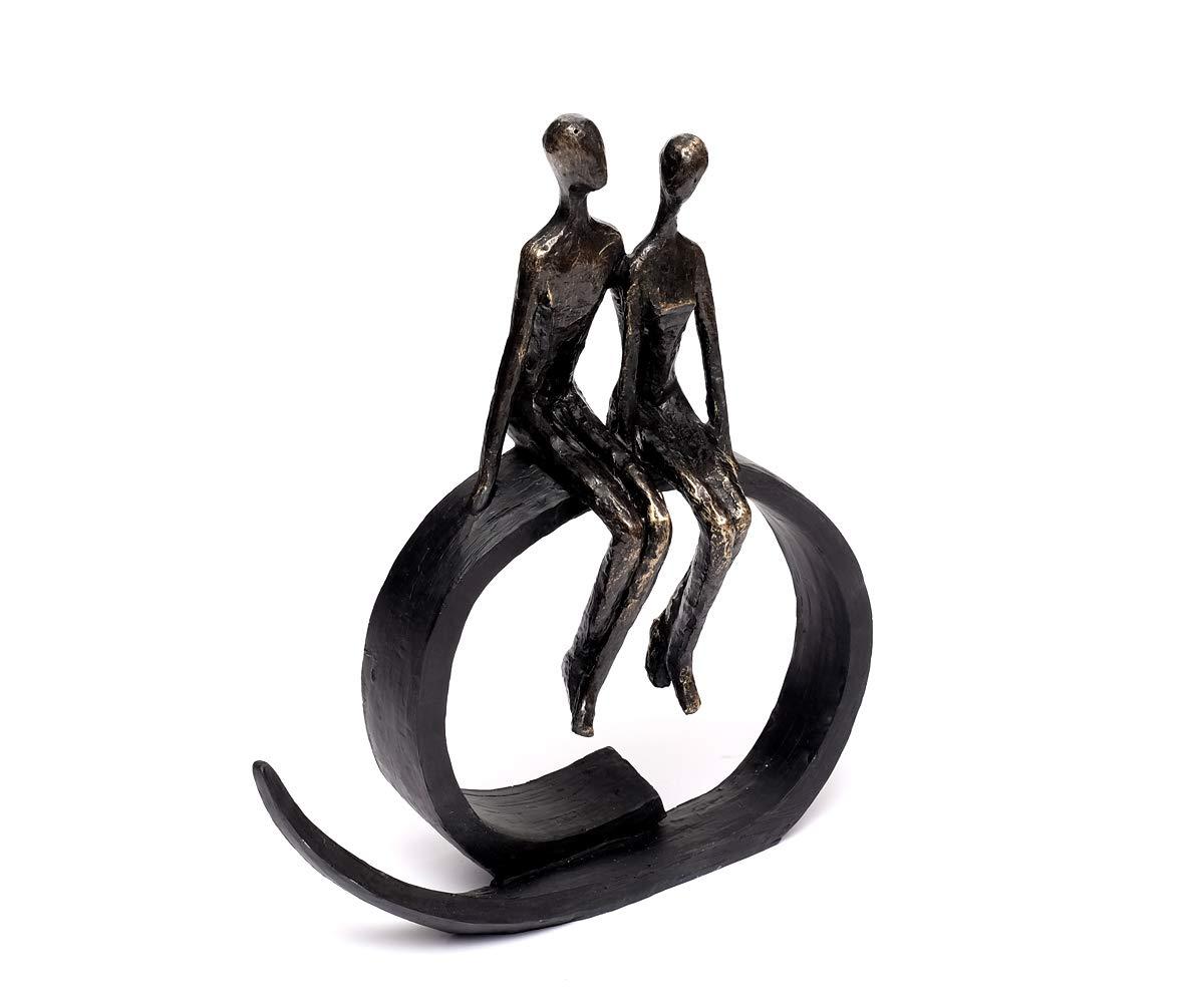 Brillibrum Design Skulptur Liebespaar Mond Bronze Deko-Objekt Figur Freundschaft Statue Moon Polyresin Hochzeitsgeschenk Love