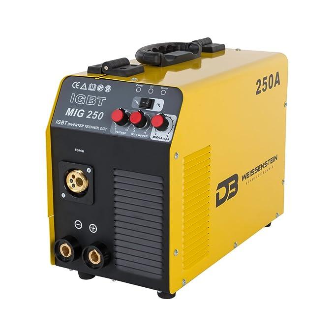 Maquina de soldar | Soldadora Inverter MIG/MAG/MMA 250 A (sin GAS) + GRATIS 1 Kg alambre con núcleo fundente de soldadura Ø 0.9m: Amazon.es: Bricolaje y ...
