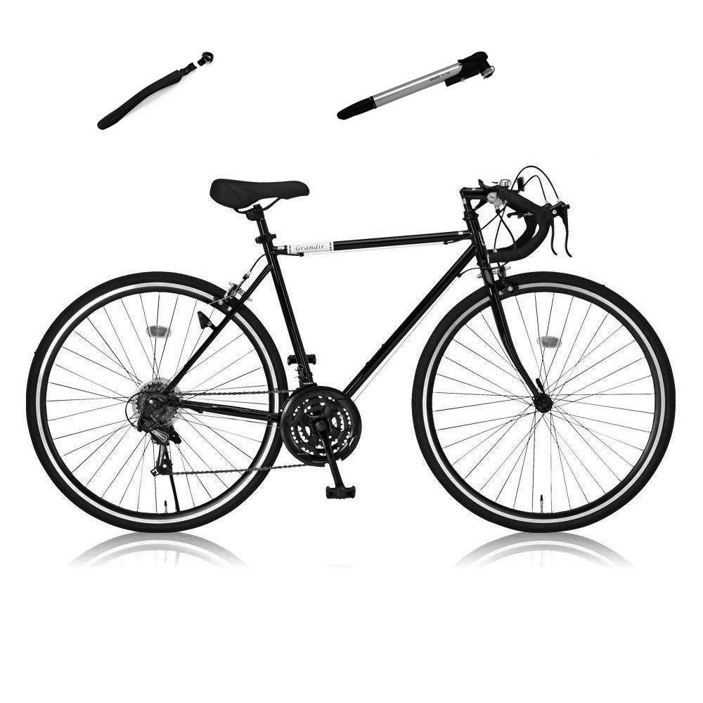 Grandir(グランディール) ロードバイク 700C シマノ21段変速[サムシフター] 2WAYブレーキシステム搭載 Grandir Sensitive(ポンプフェンダー付き) B0719VV1HZ ブラック ブラック