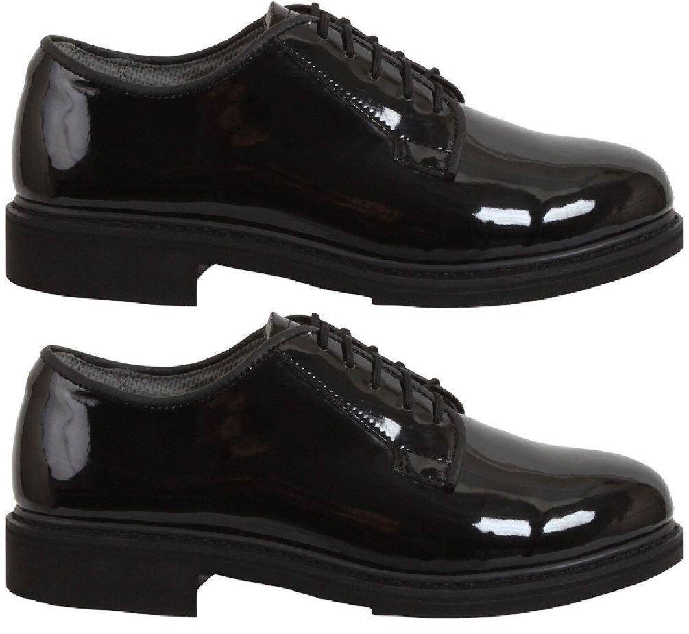 Military Dress Shoes Uniform Hi-Gloss Navy Oxford Dress Shoes